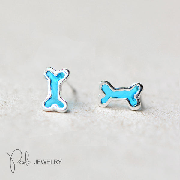 Silver Earrings Bone Stud Earring Cute Christmas Gift Jewelry Accessories Women
