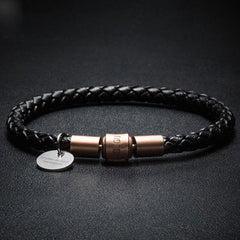Personalized Engraved Genuine Leather Knit Weave Bracelets Personalized Engraved Gift Jewelry Accessories Men