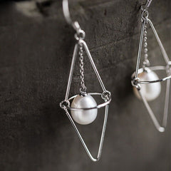 Silver Earrings 3D Pearl Rhombus Long Dangle Drop Gift Jewelry Accessories Women