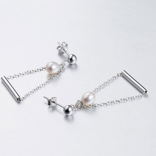 Silver Earrings Pearl Triangle Long Dangle Drop Gift Jewelry Accessories Women
