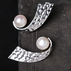 Silver Earrings Handmade Geometric Pearl Stud Gift Jewelry Accessories Women