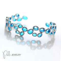 Silver Bracelet Glow Blue Irregular Bubble Charm Bangle Cuff Gift Jewelry Accessories Women