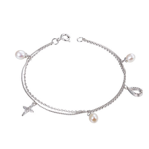 Silver Bracelets Layered Pearl Hoop Cross Chain Gift Jewelry Accessories Women