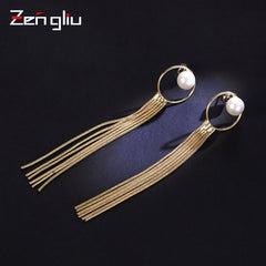 Earrings Hoop Pearl Thread Tassel Charm Long Dangle Drop Gift Jewelry Accessories Women