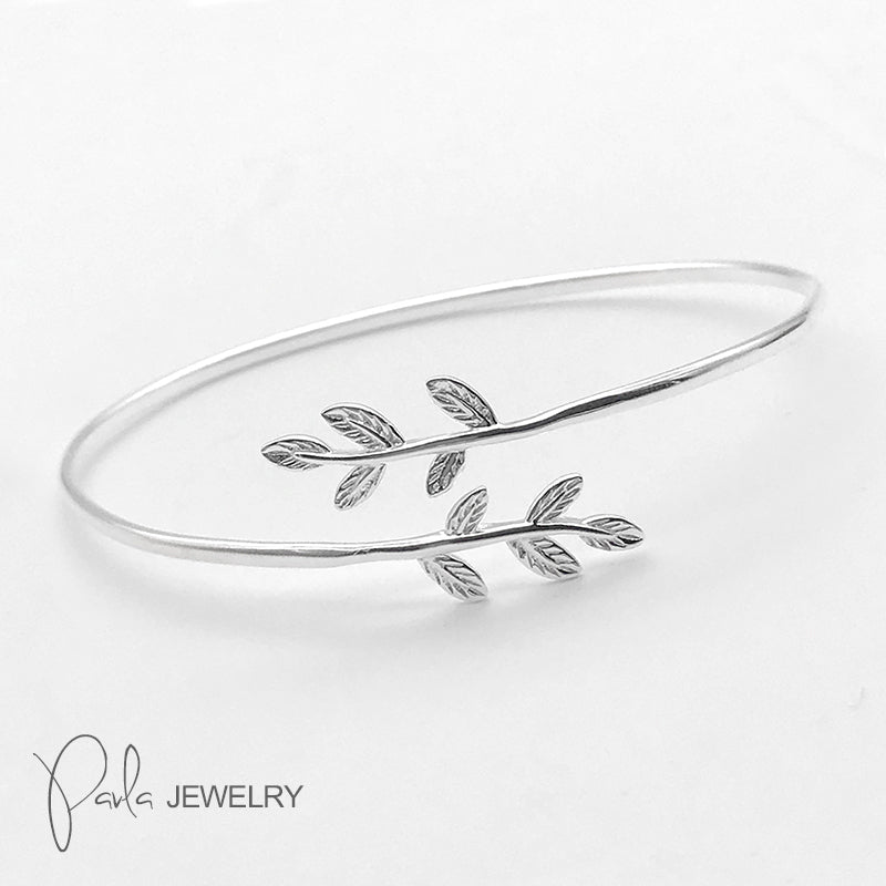 Silver Bracelet Laurel Olive Leaves Branch Cuff Bangle Gift Jewelry Accessories Women