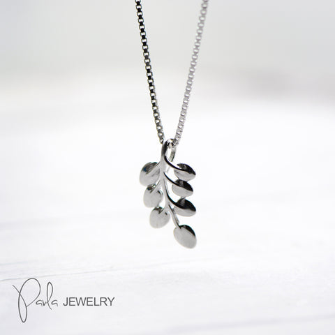 Necklace Silver Branch Leaves Pendant Charm Necklace Gift Jewelry Accessories Women