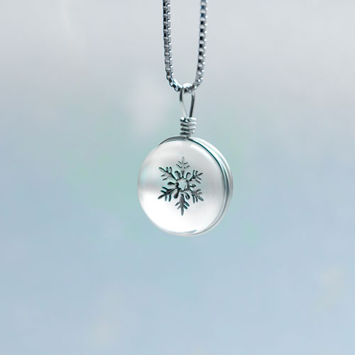 Necklace Silver Crystal Glass Lampwork Snowflake Ball Pendant Christmas Gift Jewelry Accessories Women