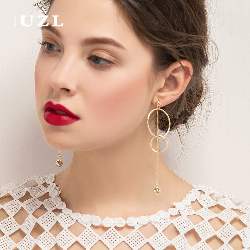 Earrings Minimal Hoop Line Thread Long Dangle Drop Gift Jewelry Accessories Women
