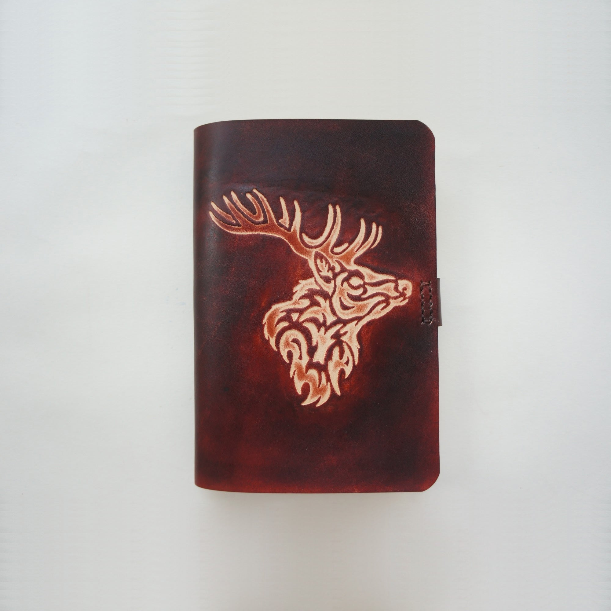 Handmade Leather Notebook Journal Tooled Reindeer A6 Loose-Leaf Travel Book Personalized Monogrammed Gift Custom Women Cute Journal