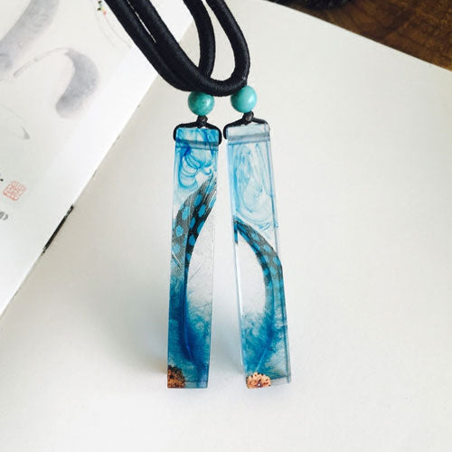 Wooden Necklace Wood Resin Handmade Feather Charm Pendant Gift Jewelry Accessories Women