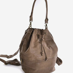 Handmade Leather Cute Womens Bucket Bag Purse Crossbody Bag Shoulder Bag