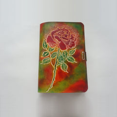 Handmade Leather Notebook Journal Tooled Rose A6 Loose-Leaf Travel Book Personalized Monogrammed Gift Custom Women Cute Journal