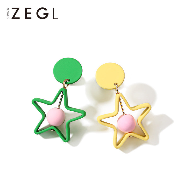 Earrings Star Bead Geometric Colorful Stud Dangle Christmas Gift Jewelry Accessories Women