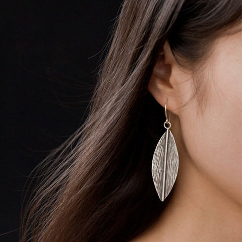 Silver Earrings Handmade Engraved Boho Feather Leaf Dangle Water Drop Gift Jewelry Accessories Women