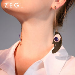 Earrings Big Eye Semicircle Smile Face Unique Thread Long Drop Dangle Party Christmas Gift Jewelry Accessories Women