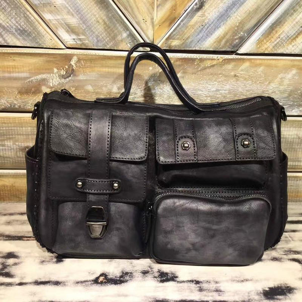 "14"" Mens Vintage Leather Messenger Bag Side Shoulder Bag"