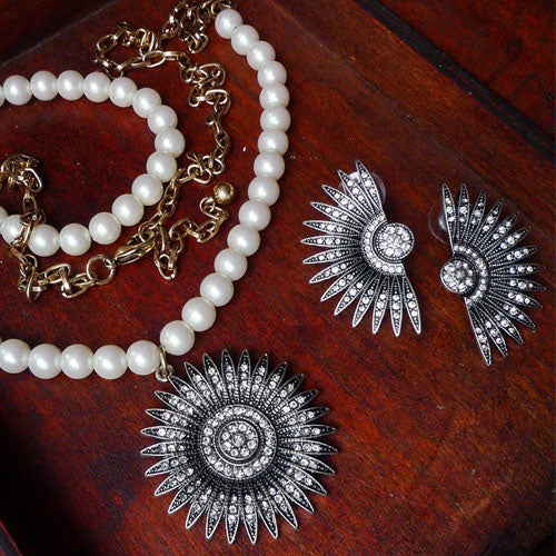 Vintage Necklace Semicircle Sun Zodiac Feather Petal Rhinestone Long Gift Jewelry Accessories Women