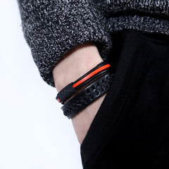 Genuine Leather Bracelets Layered Knit Weaved Vintage Gift Jewelry Accessories Unisex Men Women