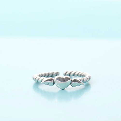 Silver Ring Heart Angle Statement Ring Adjustable Ring Wrap Gift Jewelry Accessories Women