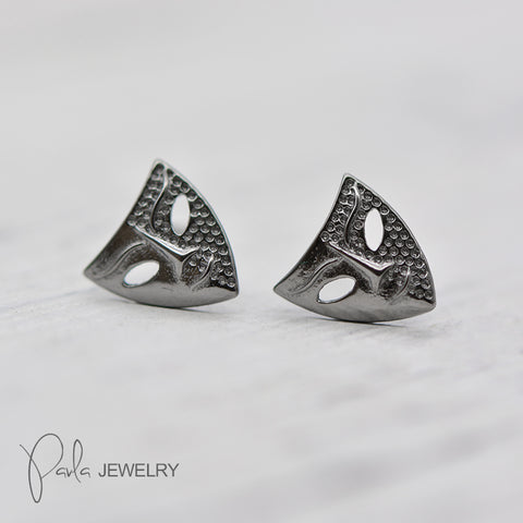 Silver Earrings Anonymous Venetian Mystery Mask Tiny Stud Gift Jewelry Accessories Women