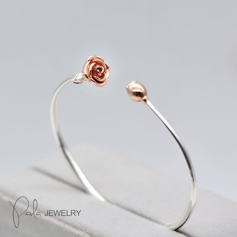 Silver Rose Gold Plated Bracelets Rose Romantic Gift Bridesmaid Adjustable Bangle Jewelry Accessories Women