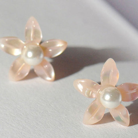 Silver Earrings Floral Daisy Shell Studs Wrap Earrings Gift Jewelry Accessories Christmas Gift For Women
