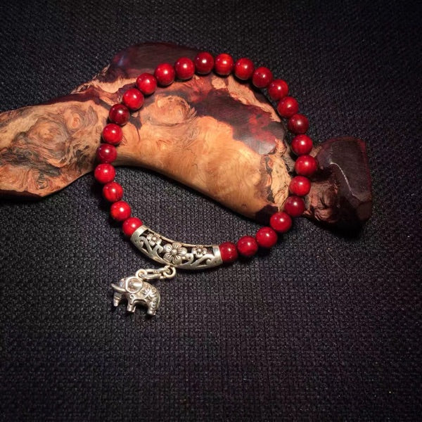 Wooden Beaded Bracelet Silver Red Sandalwood Rosewood Elephant Gift Jewelry Accessories Women