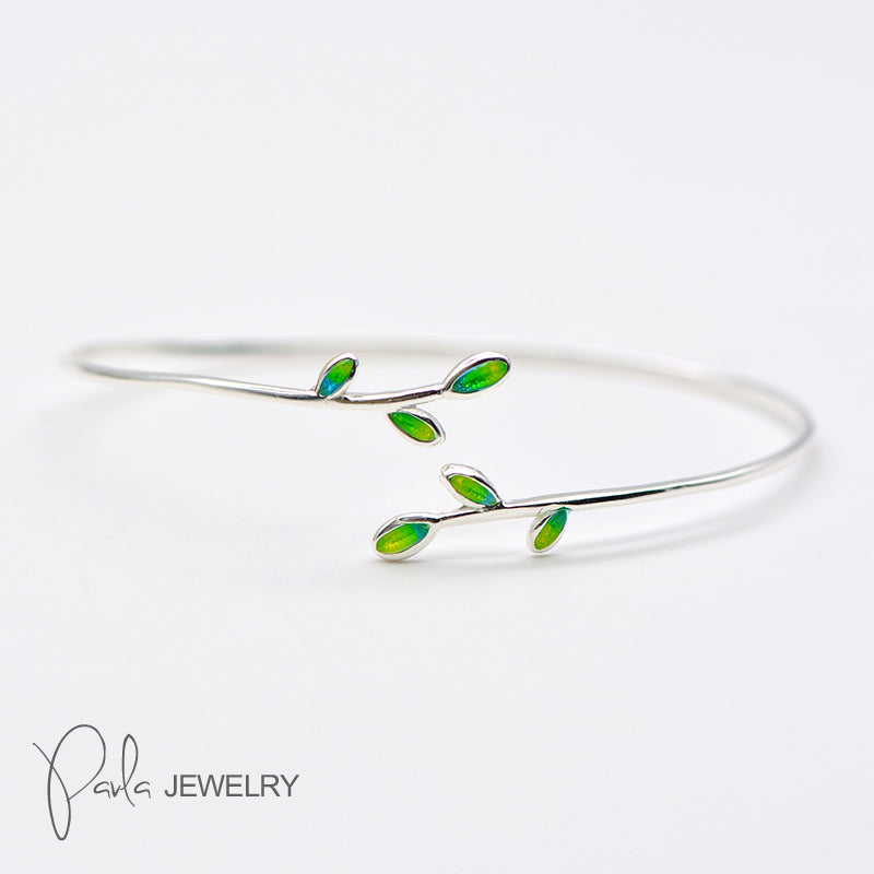 Silver Bracelets Laurel Olive Leaves Branch Cuff Bangle Gift Jewelry Accessories Women