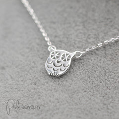 Necklace Silver Owl Charm Carved Cute Pendant Choker Necklace Christmas Gift Jewelry Accessories Women