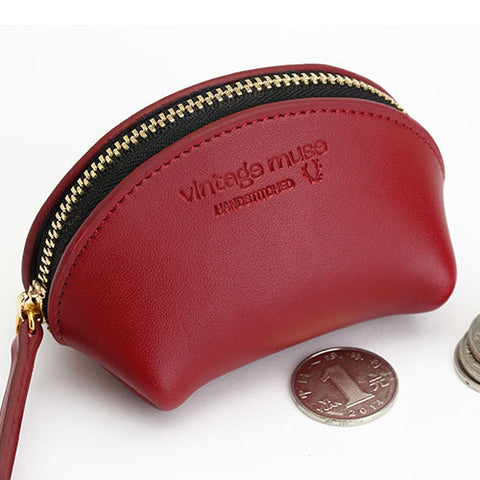 Genuine leather Zipper vintage Cute Girl women coin change wallet Pouch