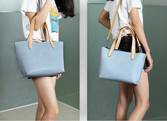 Handmade Leather Cute Blue Women Tote Bag Personalized Monogrammed Gift Custom Purse Bucket Bag Handbag Shoulder Bag Purse