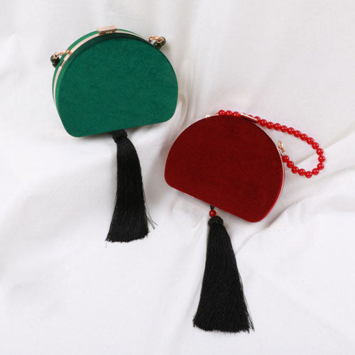 Women Clutch Velvet Semicircle Tassel Shoulder Bag Party Handbag Clutch Women Wallet