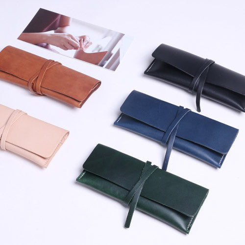 Handmade leather vintage women long wallet clutch purse wallet