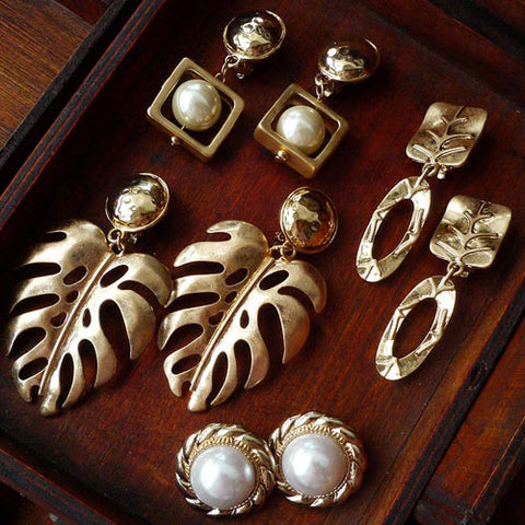 Vintage Earrings Leaf Leaves Ear Clip Dangle Gift Jewelry Accessories Women