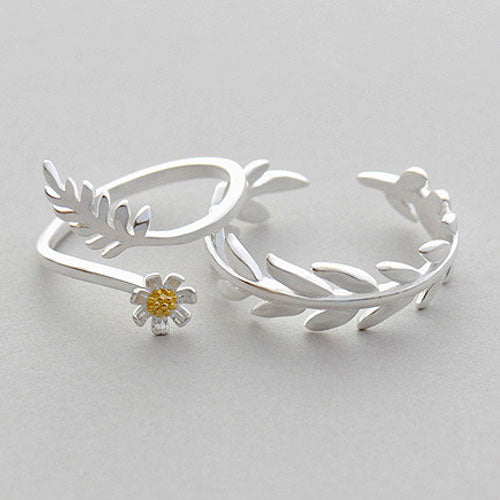 Silver Ring Branch Floral Leaves Statement Ring Adjustable Ring Wrap Gift Jewelry Accessories Women
