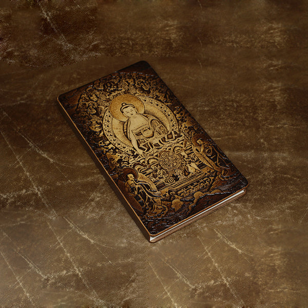 Handmade Leather Notebook Journal Tooled Sakyamuni Buddhism Travel Book Personalized Monogrammed Gift Custom Men Cool Journal