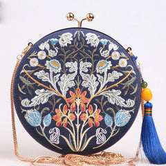 Handmade Clutch Flower Branch Embroidery Shoulder Bag Bule Cotton Linen Handbag Party Clutch Women Wallet