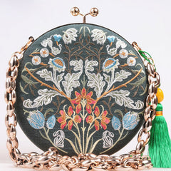 Handmade Clutch Flower Branch Embroidery Shoulder Bag Green Cotton LinenHandbag Party Clutch Women Wallet