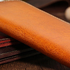 Handmade leather vintage women men long wallet clutch phone purse wallet