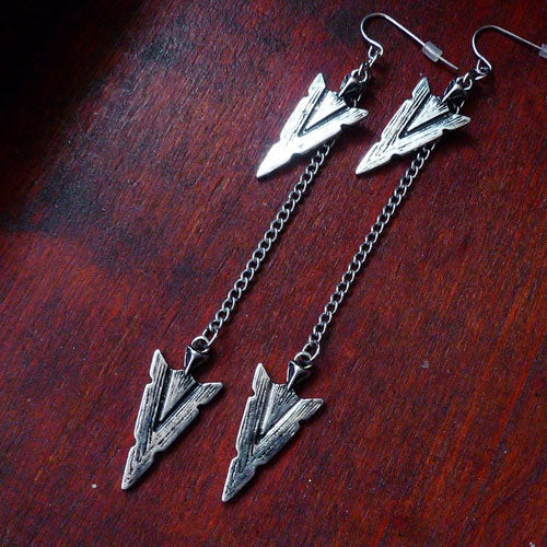 Vintage Earrings Arrows Arrowhead Long Drop Dangle Gift Jewelry Accessories Women