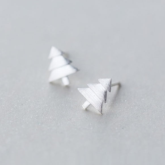 Silver Earrings Pine Christmas Tree Gift Jewelry Accessories Women
