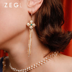 Asymmetry Earrings Thread Pearl Rhinestone Flora Long Drop Dangle Party Christmas Gift Jewelry Accessories Women