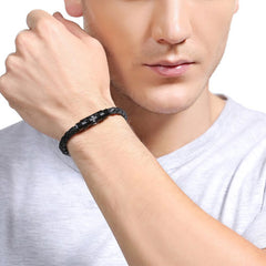 Personalized Engraved Genuine Leather Knit  Weave Bracelets Gift Jewelry Accessories Men