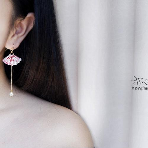 Handmade Earrings Origami Fan Long Drop Dangle Gift Jewelry Accessories Girls Women