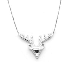 Silver Necklace Reindeer Head Horn Chokers Charm Gift Jewelry Cute Accessories Women Christmas