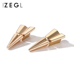 Earrings Triangle Origami Plane FlyGeometirc Stud Christmas Gift Jewelry Accessories Women