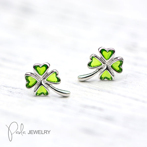 Silver Earrings Clover Leaf Stud Earring Cute Christmas Gift Jewelry Accessories Women