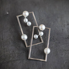 Silver Earrings Unique Square Rectangle Pearl Long Dangle Drop Gift Jewelry Accessories Women