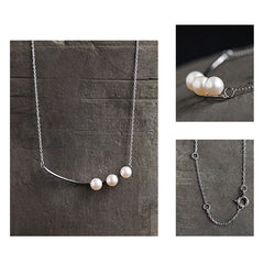 Necklace Silver Bead Pearl Minimal Charm Chokers Pendant Gift Jewelry Accessories Women