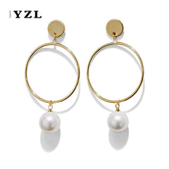 Earrings Layered Hoop Pearl Bridal Dangle Drop Gift Jewelry Accessories Women